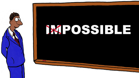 possible: Cartoon of businessman turning the impossible into possible.