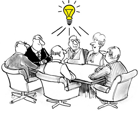 innovator: Cartoon of business meeting, team members have a common new idea. Stock Photo