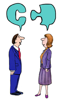 Cartoon of two businesspeople connecting thoughts.