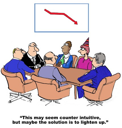 worried executive: Cartoon of declining sales, maybe the solution is to lighten up. Stock Photo