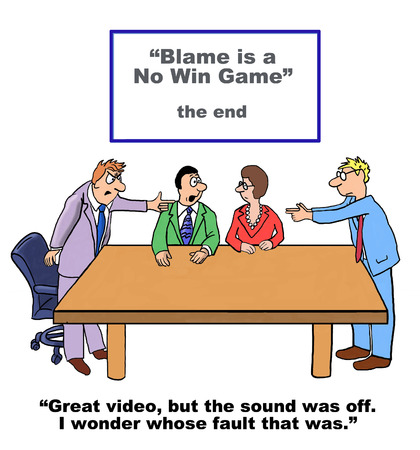 find fault: Cartoon of business team, blame is a no win game. Stock Photo