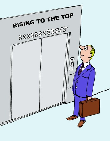 Cartoon of businessman rising to the top.