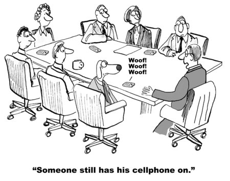 interruption: Cartoon of businessman dog, he forgot to turn his cellphone ringer off before the meeting. Stock Photo
