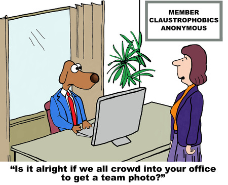 claustrophobic: Cartoon of businessman dog who is claustrophobic. Stock Photo