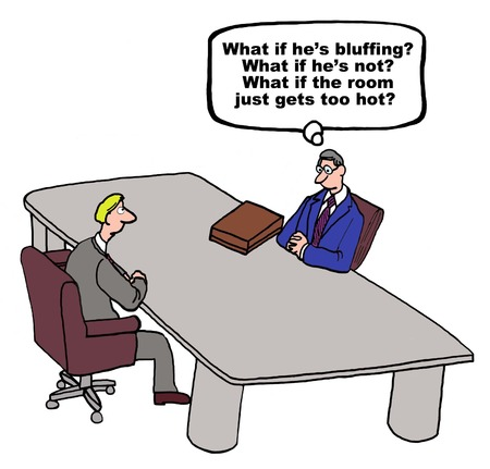 negotiate: Cartoon of negotiation, is the opponent bluffing?