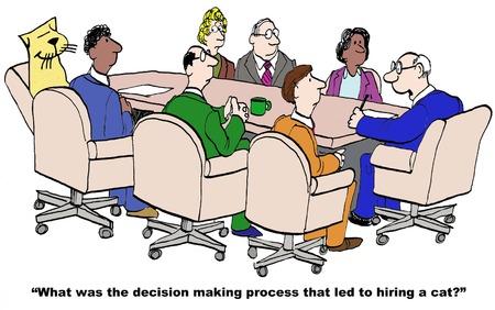 Cartoon van zakenman baas proberen om de besluitvorming die leidde tot het inhuren van een kat te begrijpen.