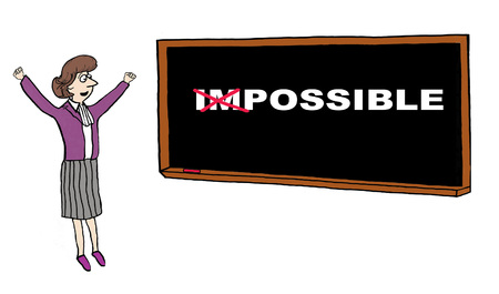 accomplish: Cartoon fo businesswoman celebrating turning the impossible into possible.
