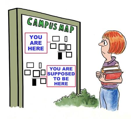 キャンパスに失われ、地図を見て学生の漫画。 写真素材
