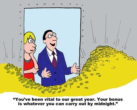 Cartoon of businessman saying to businesswoman she has a rich bonus.