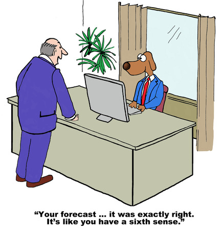 Cartoon of businessman boss congratulating businessman dog on his perfect forecast.