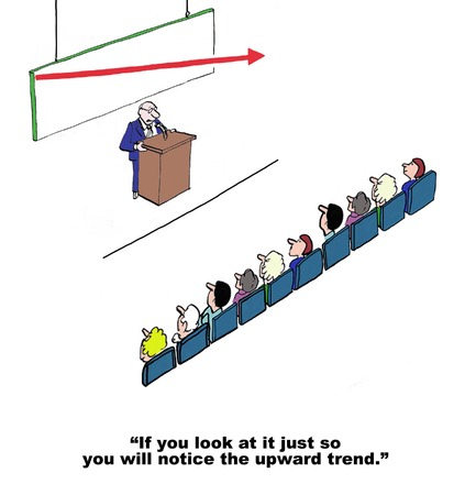 stockholders: Cartoon of businessman CEO trying to convince audience there is an upward trend in profit. Illustration