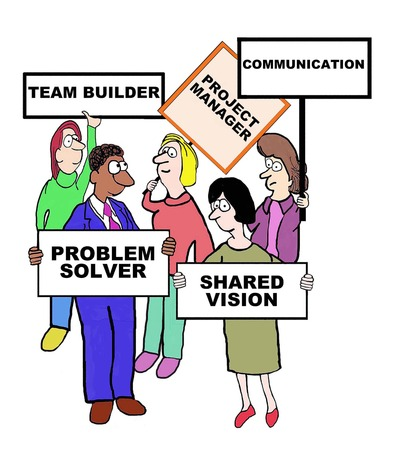 define: Cartoon of businesspeople defining the characteristics of a project manager: team builder, communicator, shared vision, problem solver.