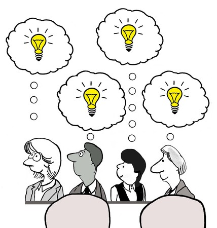 innovator: Cartoon of business people with many new ideas.