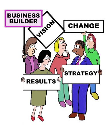characteristics: Cartoon of business people defining the characteristics of a business builder: vision, change, strategy, results.