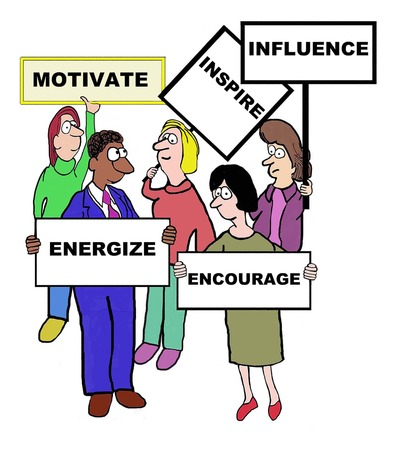 Cartoon of businesspeople defining motivate: inspire, influence, encourage, energize. Illustration