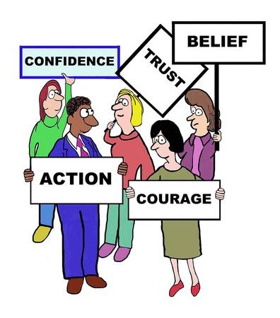 자신감을 정의하는 기업인의 만화 : 신뢰, 믿음, 용기, 액션. 일러스트