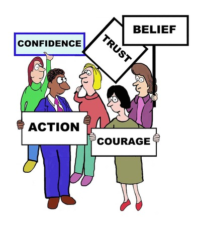 confidence: Cartoon of businesspeople defining confidence: trust, belief, courage, action.