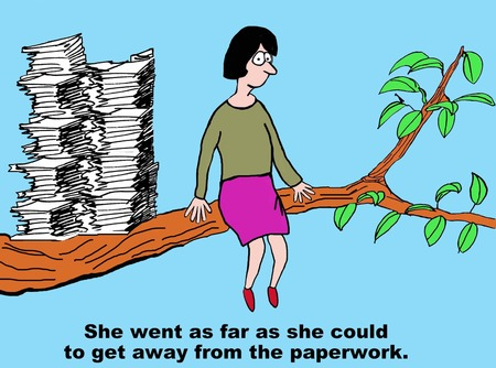 Cartoon of Get Away from the Paperwork Illustration