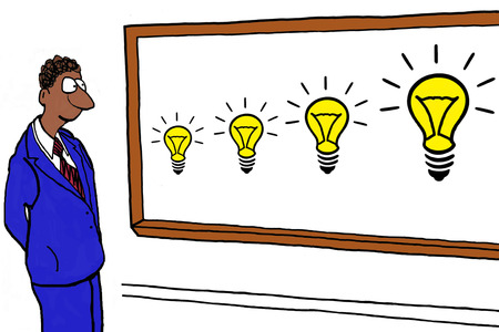 innovator: Cartoon of african american businessman with many new ideas.