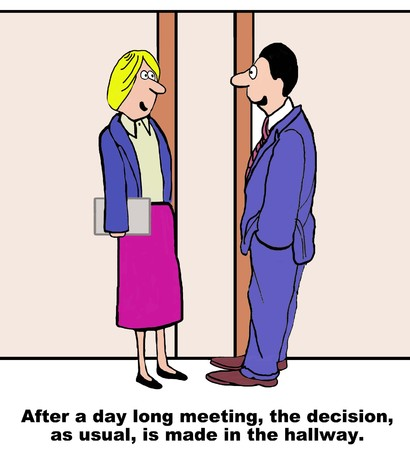 Cartoon of businesspeople, as usual, they are making the decision in the hallway.