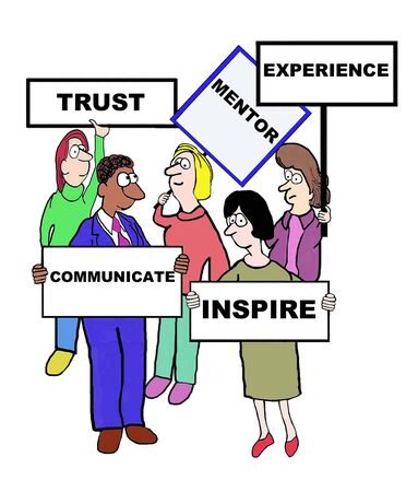 characteristics: Cartoon of businesspeople defining the characteristics of a mentor: trust, experience, inspire, communication. Illustration
