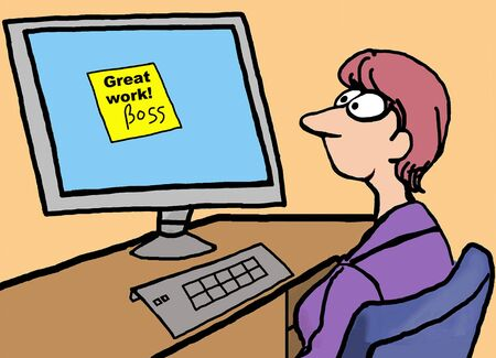 Cartoon of businesswoman receiving feedback from boss:  great work. Illustration