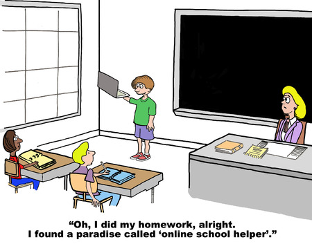 discovered: Cartoon of grade school student who has discovered an online school helper.