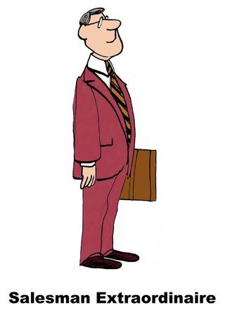 Cartoon of a salesman extraordinaire.