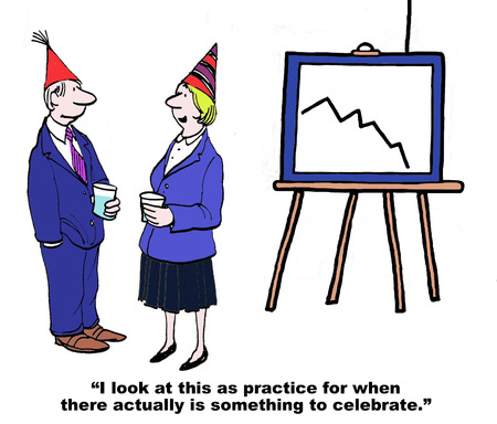 Cartoon of declining sales, they are practicing having a party for when sales reverse.