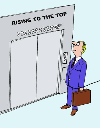 Cartoon of businessman rising to the top, he is climbing the corporate ladder.