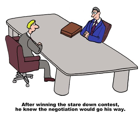 negotiator: Cartoon of business men in a negotiation, having won the stare down contest he knew it would go his way.
