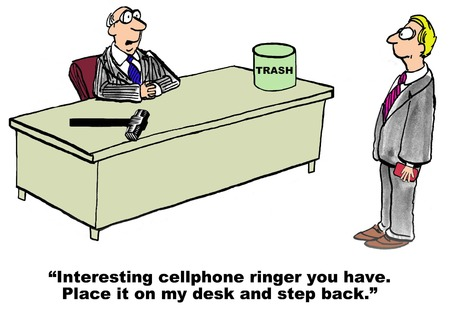 Cartoon of businessman with irritating cellphone ringer, it is about to get smashed. Ilustração
