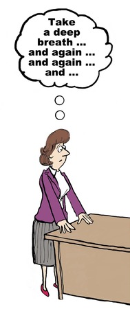 irritate: Cartoon of angry businesswoman, she is taking deep breaths to manage the conflict.