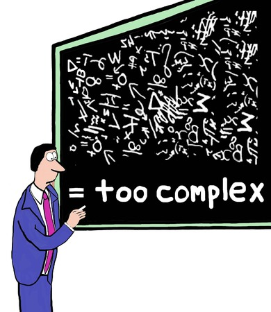 Cartoon of many confusing formulas and plans, it is too complex.