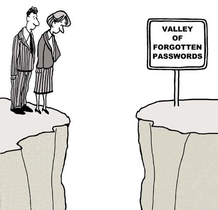 autoriser: Cartoon d'hommes d'affaires qui cherchent � la vall�e de mots de passe oubli�s.