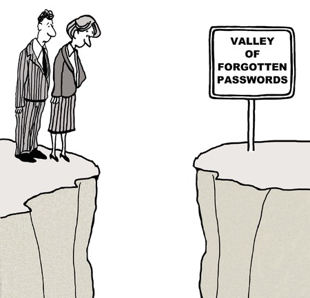 forgotten: Cartoon of businesspeople looking at the valley of forgotten passwords.