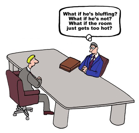 bluff: Cartoon of businessmen in negotiations, one man is trying to determine if the other one is bluffing. Illustration