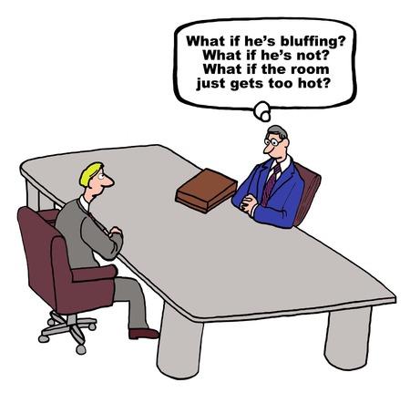 bluff: Fumetto di uomini d'affari in trattative, un uomo sta cercando di determinare se l'altro sta facendo il bluff.