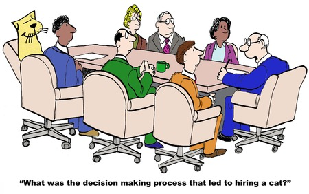 Cartoon der Geschäftsmann Chef, versucht er, den Entscheidungsprozess, der für die Einstellung einer führte Katze zu verstehen.