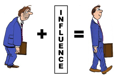 influence: Cartoon of how influence changed the businessman.