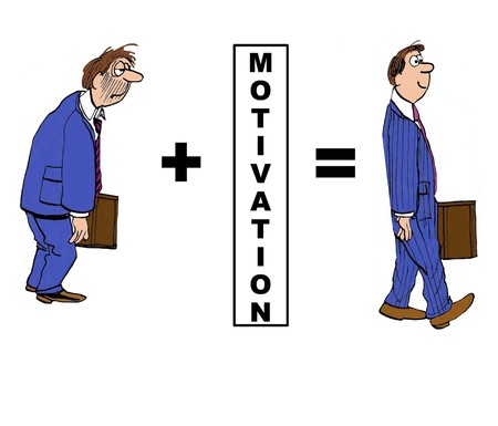 motivator: Cartoon of downtrodden businessman who becomes an excellent worker with motivation. Illustration