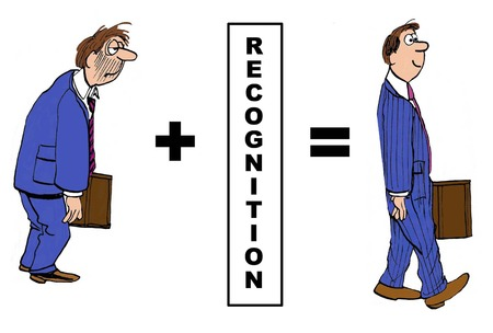 recognize: Cartoon of downtrodden businessman, with recognition he becomes a star employee.