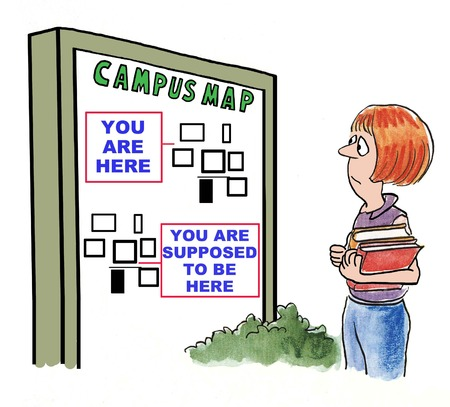 Cartoon of college girl lost on campus and looking at map.