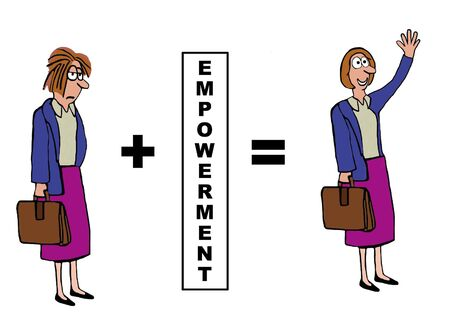 downtrodden: Business cartoon on the positive impact of empowerment.
