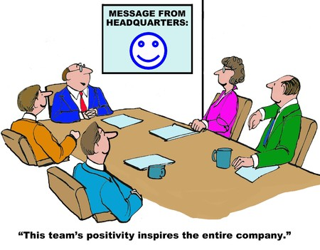 Business cartoon on the positive impact of the teams positivity. Stock Photo