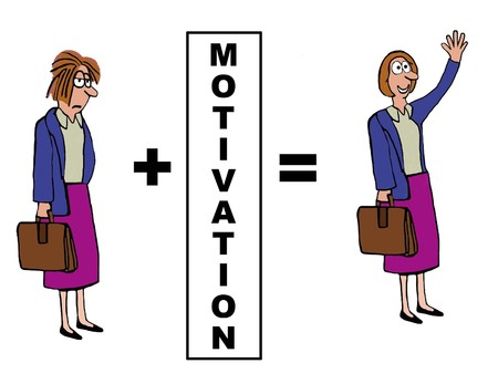 energized: Business cartoon on the impact of motivation. Stock Photo