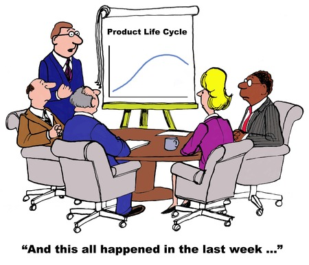 one on one meeting: Business cartoon about a product life cycle that occurred entirely in one week.