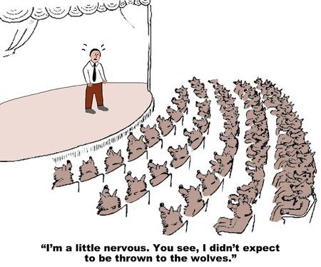 Business cartoon about stage fright. Zdjęcie Seryjne - 41343577