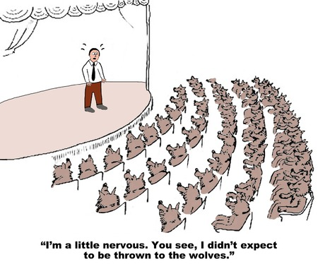 audience: Business cartoon about stage fright.
