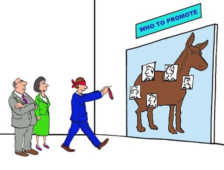 Business cartoon about the random selection process of who to promote.